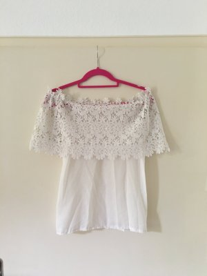 Off Shoulder Shirt Carmen Bluse Spitze Lace Chrochet Chiffon Seide Blogger