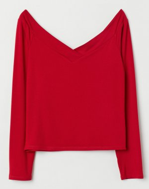 H&M V-Neck Shirt red viscose