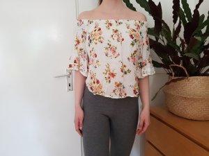Off-Shoulder Shirt mit Blümchenmuster von Bershka