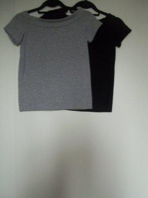 Atmosphere Camisa de un solo hombro negro-color plata