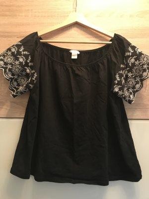H&M Off the shoulder top zwart-wit