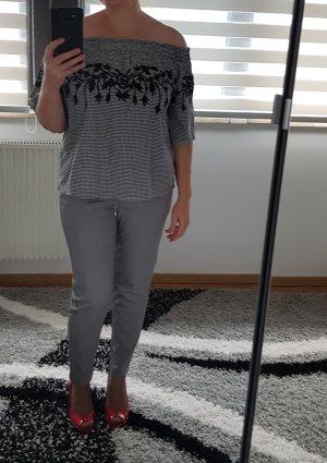 Off Shoulder Top 2/4-Ärmeln Gr 42 / XL Only Bluse ausgenäht Neu Baumwolle