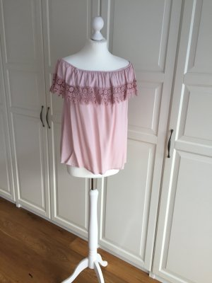 Off the shoulder top stoffig roze