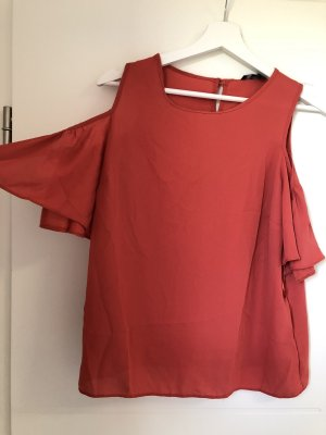 Off the shoulder top donker oranje-oranje