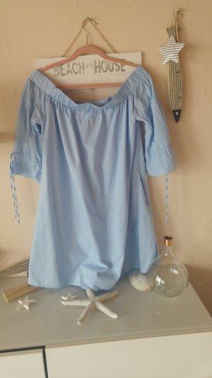 off shoulder tunika/kleid popeline in blau
