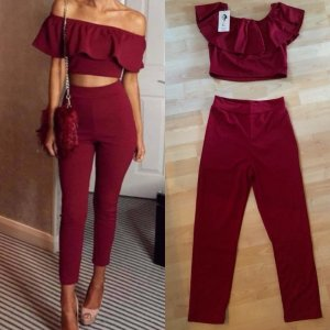 Off-Shoulder Zweiteiler Bordeaux