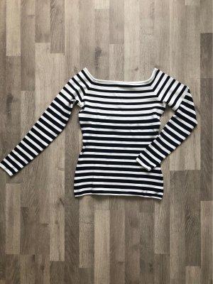 H&M Carmen Shirt white-dark blue