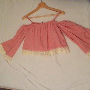 H&M Top épaules dénudées rose-crème