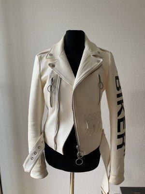 Off-White Veste motard blanc cassé cuir