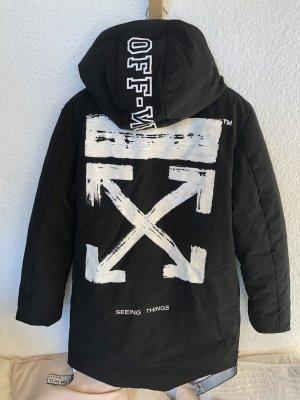 Off-White Abrigo con capucha negro