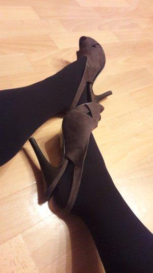 offene high heels mit kleinem plateauabsatz