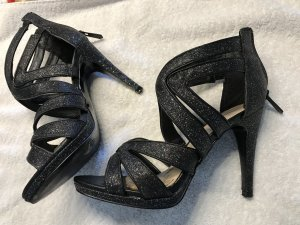High-Heeled Sandals silver-colored-black