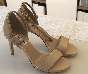 Offene Riemchen-Sandalen in beige