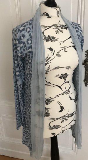 Offener Leo Long Cardigan mit Wasserfallkragen aus Seide