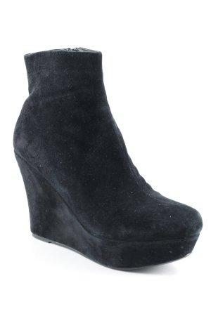 Office Keil-Stiefeletten schwarz extravaganter Stil