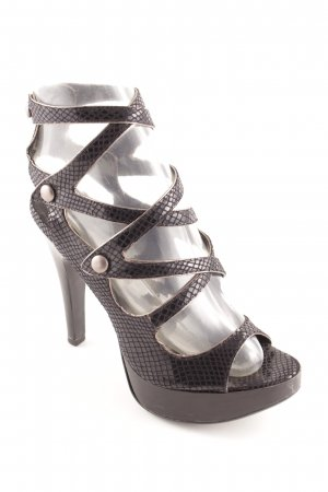 Office Strapped High-Heeled Sandals black reptile print