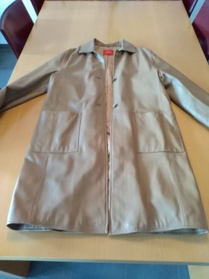 Offset Leather Coat light brown
