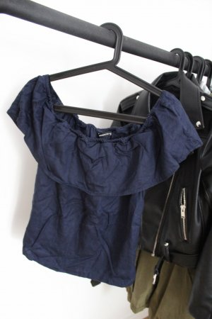 Reserved Top sin hombros azul oscuro
