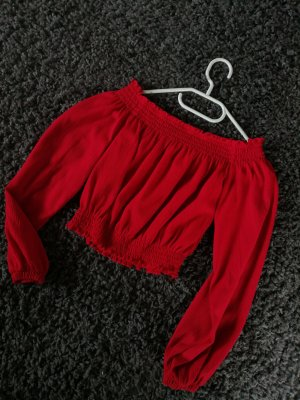 H&M Off-The-Shoulder Top red