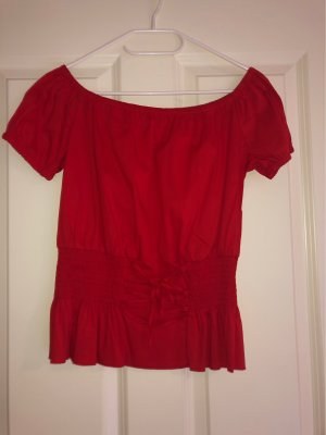 Off-The-Shoulder Top dark red-red