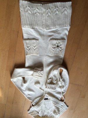 OGO Paris - Körpernaher Strickmantel in Wollweiss Ecru - TOLL