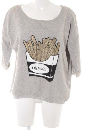 Oh Yeah! Sweatshirt hellgrau-gelb Motivdruck Casual-Look