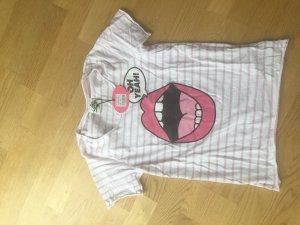 Oh yeah T-Shirt Print Mund weiß rosa gr xs neu