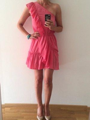 One Shoulder Dress neon pink silk