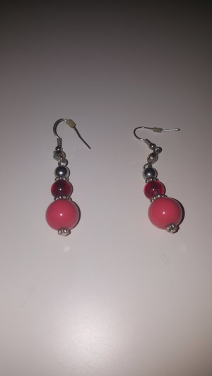 Pearl Earring silver-colored-red