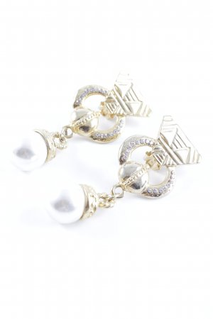 Earclip gold-colored-cream abstract pattern extravagant style