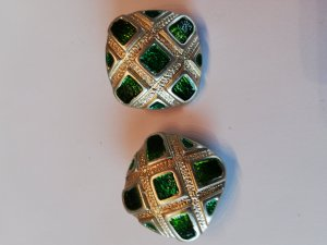 Earclip gold-colored-green