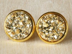 Ohrclips Clip-Ohrringe Druzy Drusen gold 12mm