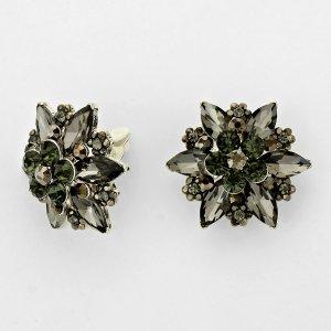 Ohrclips Clip-Ohrringe schwarz grau Blumen Clips