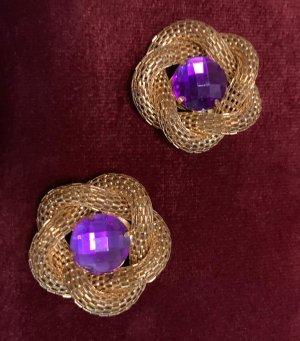 Pendientes de clip color oro-lila