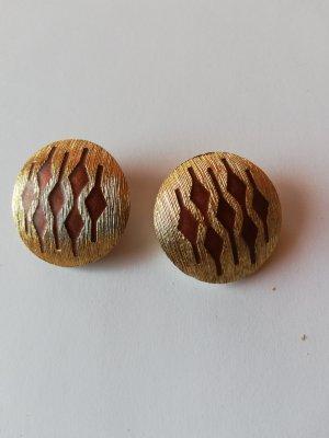 Pendientes de clip color oro-marrón