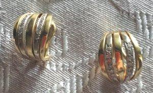 Vintage Pendientes de oro color plata-color oro oro verdadero