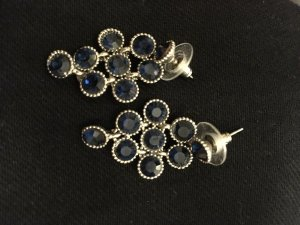 Pendientes colgante azul oscuro-color plata