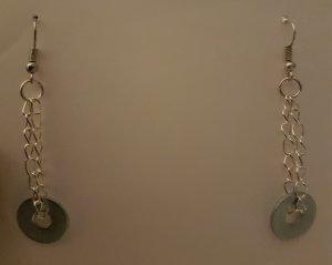 Ohrhänger aus silberner Kette und Ring (selbstgemacht)