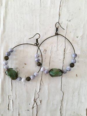 Ohrhänger Metall, mit Grün-Weiß-Bronzefarbenen Elementen