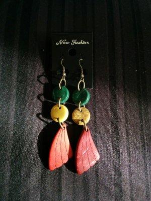 Ohrhänger Ohrringe Holz grün gelb rot aus Thailand NEU