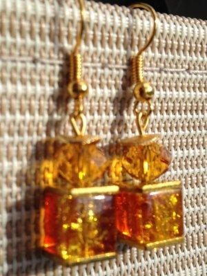 Ohrhänger Orange Fiire m. funkelnden Swarovski Crystal und Cracle Crash Würfeln