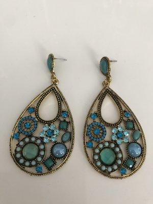 Ohrhänger Orient in Bronze Optik mit  hellblau , Türkis und grün Schmucksteinen und  Perlen  verziert