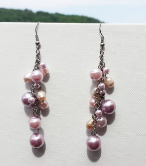 Ohrhänger rosé mit Perlen