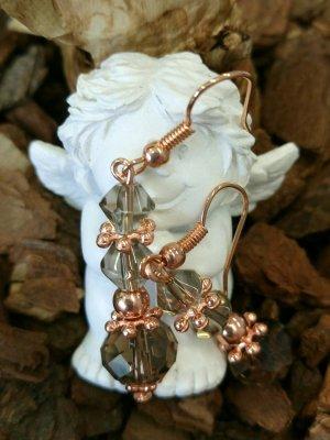 Ohrhänger, rosegold, Glasperlen