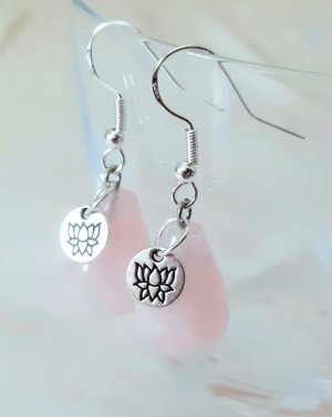 Silver Earrings silver-colored-light pink