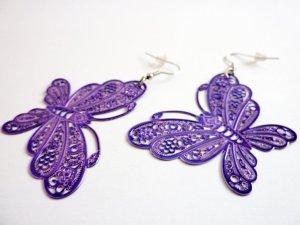 Ohrhänger Schmetterlinge Ohrringe lila Boho Schmuck moderner Statement Schmuck