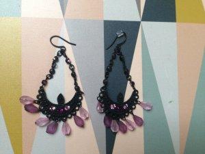 Ohrhänger, schwarz-lila, neu