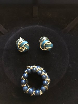 Earring blue-silver-colored