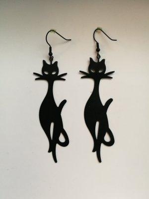 Ohringe mit schwarzen Katzen-Anhänger