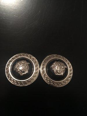 Gianni Versace Pendientes de clip negro-color plata
